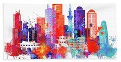 Tokyo Watercolor Hand Towel by Dim Dom