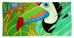 Toucan And Red Eyed Tree Frog Hand Towel by Nick Gustafson