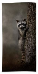 Tree Hugger Raccoon Art Hand Towel by Jai Johnson