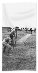Troops Playing Cricket Hand Towel by Underwood Archives