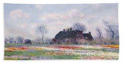 Tulip Fields At Sassenheim Hand Towel by Claude Monet