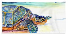 Turtle At Poipu Beach 2 Hand Towel by Marionette Taboniar