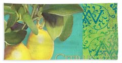 Tuscan Lemon Tree - Citrus Limonum Damask Hand Towel by Audrey Jeanne Roberts
