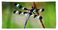 Bath Towel featuring the photograph Twelve Spotted Skimmer by Rodney Campbell