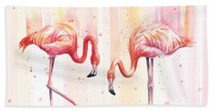 Two Flamingos Watercolor Hand Towel by Olga Shvartsur