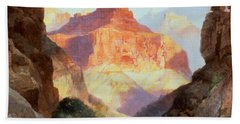Under The Red Wall Hand Towel by Thomas Moran