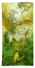 Unicorn Of The Forest  Hand Towel by Carol Cavalaris