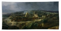 View Of Jerusalem From The Valley Of Jehoshaphat Hand Towel by Auguste Forbin