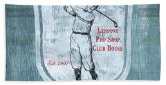 Vintage Golf Blue 1 Hand Towel by Debbie DeWitt