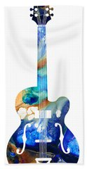 Vintage Guitar - Colorful Abstract Musical Instrument Hand Towel by Sharon Cummings