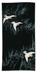 Vintage Japanese Illustration Of Three Cranes Flying In A Night Landscape Hand Towel by Japanese School