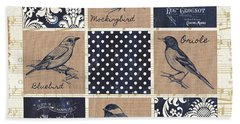Vintage Songbird Patch 2 Hand Towel by Debbie DeWitt