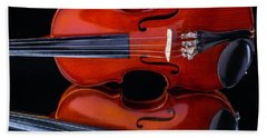 Violin Reflection Hand Towel by Garry Gay