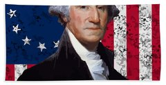 Washington And The American Flag Hand Towel by War Is Hell Store