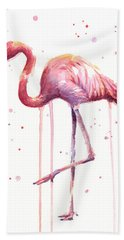 Watercolor Flamingo Hand Towel by Olga Shvartsur