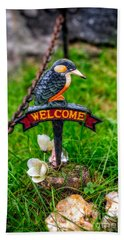 Welcome Sign Hand Towel by Adrian Evans