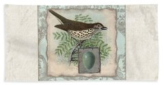 Welcome To Our Nest - Vintage Bird W Egg Hand Towel by Audrey Jeanne Roberts