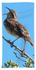 Western Meadowlark Singing Hand Towel by Angela Koehler