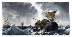 Whale Destroying Whaling Ship Hand Towel by American School