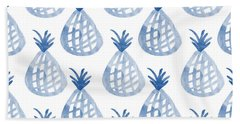 White And Blue Pineapple Party Hand Towel by Linda Woods