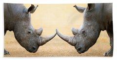 White Rhinoceros  Head To Head Hand Towel by Johan Swanepoel