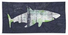 White Shark- Art By Linda Woods Hand Towel by Linda Woods