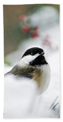 White Winter Chickadee Hand Towel by Christina Rollo