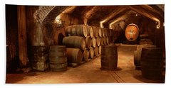 Wine Barrels In A Cellar, Buena Vista Hand Towel by Panoramic Images
