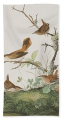 Winter Wren Or Rock Wren Hand Towel by John James Audubon