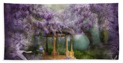 Wisteria Lake Hand Towel by Carol Cavalaris