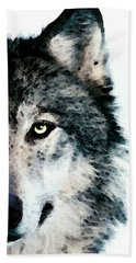 Wolf Art - Timber Hand Towel by Sharon Cummings
