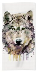 Wolf Head Hand Towel by Marian Voicu