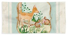 Woodland Fairy Tale - Deer Fawn Baby Bunny Rabbits In Forest Hand Towel by Audrey Jeanne Roberts