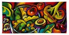 Yammy Salad Hand Towel by Leon Zernitsky