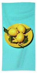 Yellow Lemons On Cyan Hand Towel by Oleg Cherneikin