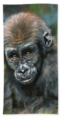 Young Gorilla Hand Towel by David Stribbling