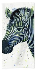 Zebra Watercolor Blue Green  Hand Towel by Olga Shvartsur