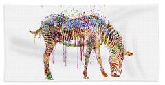 Zebra Watercolor Painting Hand Towel by Marian Voicu