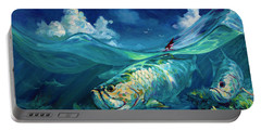 A Place I'd Rather Be - Caribbean Tarpon Fish Fly Fishing Painting Portable Battery Charger by Savlen Art