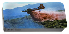 Portable Battery Charger featuring the photograph  B-17 Air Tanker Dropping Fire Retardant by Bill Gabbert