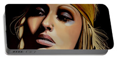 Christina Aguilera Painting Portable Battery Charger by Paul Meijering