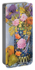 Iris And Pinks In A Japanese Vase With Pears Portable Battery Charger by Joan Thewsey
