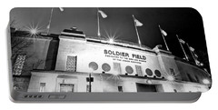 0879 Soldier Field Black And White Portable Battery Charger by Steve Sturgill