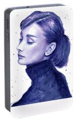 Audrey Hepburn Portrait Portable Battery Charger by Olga Shvartsur