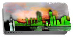 Barcelona Spain Skyline Watercolor Portable Battery Charger by Marvin Blaine