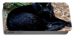 Black Leopard Portable Battery Charger by Mark Newman