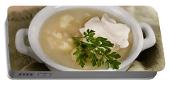 Cauliflower Soup Portable Battery Charger by Iris Richardson