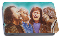 Crosby Stills Nash And Young Portable Battery Charger by Kean Butterfield