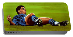 Diego Maradona Portable Battery Charger by Paul Meijering