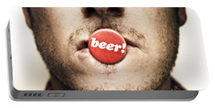 Face Of A Man With Beer Badge Portable Battery Charger by Jorgo Photography - Wall Art Gallery